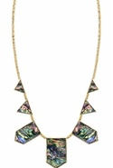 House of Harlow Gold Five Station Necklace Abalone