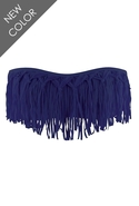 Dolly Knotted Fringe Bandeau in Steel - Steel - D