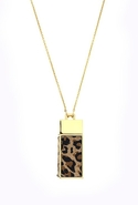 Leopard Suede Amulet Necklace - Gold