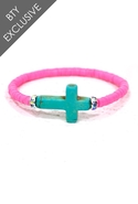 Vinyl Trade Bead Cross Bracelet in Neon Pink - Neo