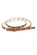 The Studded Skinny Belt in Tan - Tan - One Size Fi