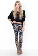 FINAL SALE-Siwy Hannah Slim Crop in Gold Leaves - 