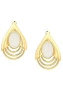 SALE-Belle Noel Teardrop Earrings - Gold with Whit