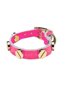 Italian Leather Screw Bracelet in Neon Pink - Neon