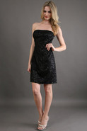 Lace Sequin Strapless Dress in Black