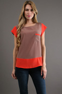 Color Blocked Top in Coffee/ Orange