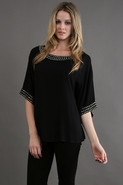 Dylan Pail Trimmed Top in Black