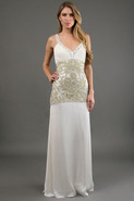 Metallic Scrollwork Gown