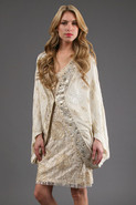 Embellished Cocoon Coat in White