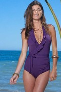 Lauren Ruffle One Piece in Plum