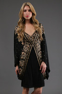 Embellished Cocoon Coat in Black