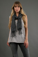 Courtney Lurex Stripe Scarf in Black