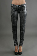 Motorcycle Legging in Silver Flake
