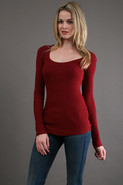 Textured Rib Long Sleeve Scoop in Sumac
