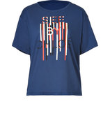 Blue-Multi Logo Print Cotton T-Shirt