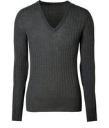 Grey Heather Wool-Silk Shepton Moto V-Neck Pullove