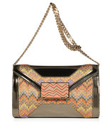 Mandarin Multi-Pastel Lurex and Leather Clutch