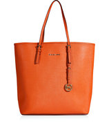 Tangerine Textured Leather Jet Set Travel Tote