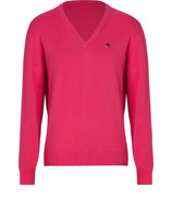 Geranium Red Cotton V-Neck Pullover