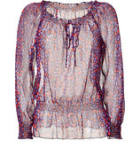 Plum and Berry Printed Silk Blouse