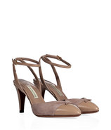 Warm Taupe Leather/Suede Pumps with Ankle Strap