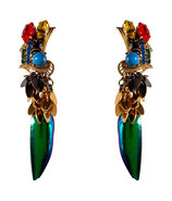 Gold-Plated Aquarela Do Brasil Earrings with Multi