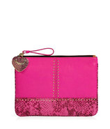 Hot Pink Embossed Snake and Stud Leather Med Pouch