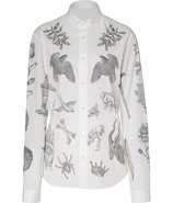 Soft White Tattoo Print Cotton Shirt