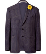 Slate/Dark Violet Paisley Patterned Jacket