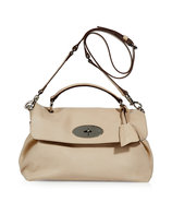 Pebbled Beige Postmans Lock Satchel Bag