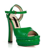 Grass Green Python Platform Sandals