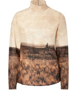 Brown Landscape Print Silk Top