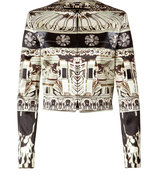 Black Crystal Print Silk-Cotton Cropped Jacket