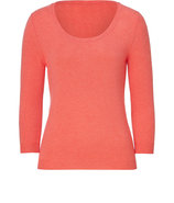 Apricot Heather Cashmere Scoop Neck Pullover