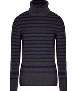 Charcoal and Navy Striped Turtleneck Pullover
