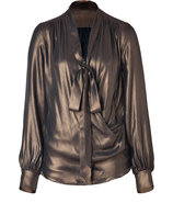 Bronze Draped Silk Wrap Blouse with Tie