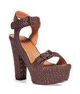 Dark Brown Studded Platform Sandals
