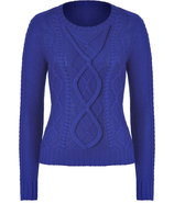 Royal Blue Patterned Merino Wool Pullover