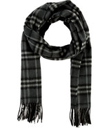Dark Charcoal Check Icon Cashmere Scarf