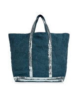Indigo Silver Sequined XXL Tote