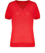 Mandarin red wool and silk blend top