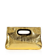 Gold Python Embossed Leather Berkley Clutch