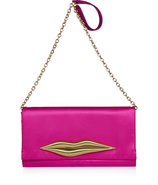 Fuchsia Satin Carolina Lip Clutch