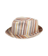 Coral/Cream Multi Stripe Linen/Silk Hat