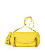 Canary Yellow Textured Leather Tasseled Crossbody 