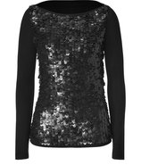 Black Leather Sequined Stretch Wool Long Sleeve To
