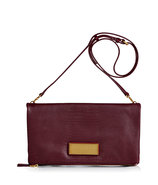 Pinot Embossed Leather Foldover Clutch