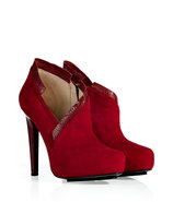 Ruby Red Suede Asymmetrical Platform Booties