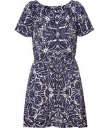 Indigo Ikat Tile Printed Silk Dress