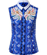 Blue-Multi Sequin Embelished Silk-Blend Top